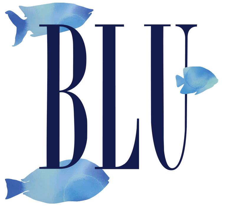 Blu Beach Bar & Grill Logo with water color fish swimming through